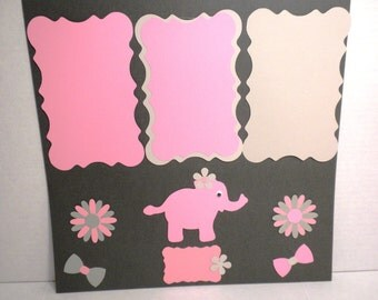 Scrapbook Premade Pages-Elephants, Handmade Scrapbook Pages, Scrapbooking, Scrapbook , Premade Pages, Die Cut Premade Pages