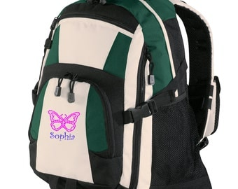 Personalized Backpack Embroidered Back Pack Custom Backpack - Sports - Butterfly - BG77
