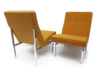 Unique Pair of Mid Century Lounge Chairs - Mid Century Modern -Chome Base - Tufted - Mustard Rust Fabric - Office Furni