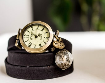Wrap Watch, wrist watch  cork leather, bead watch, bracelet watch, real leather, wish watch, watch, Live Laugh Love