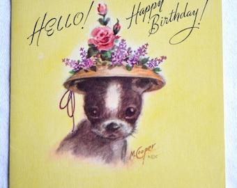 Vintage Birthday Card - Marjorie Cooper Puppy In Flower Hat - Used
