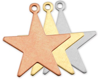 """12 Star Shaped Copper Tags for Stamping, 7/8"""" plus ring, Stamping Blanks by ImpressArt, Made in USA"""