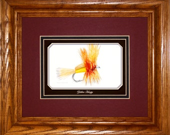 Yellow Humpy Dry Fly, framed gift art for fly fisherman, wall decor art for home or office