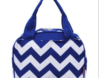 Roll Blue Chevron W/ Aqua straps,  Lunch Box, Lunch Tote, Thermal Insulated, Monogramed