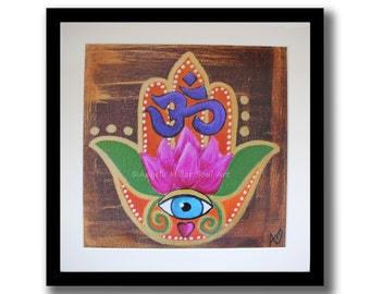 Hamsa hand - Hamsa wall art - Evil eye art - Lotus art - Hand of Fatima decor - Hand of Miriam - Om wall art - Talisman - House warming gift