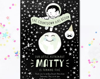 Astronaut Birthday Card, Outer Space Invite, Explorer Invite, Adventurer Birthday Card, Space Party, Space birthday invite, Motif Visuals