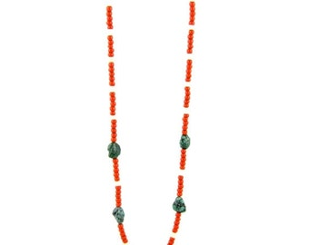 ON SALE Orange Trade Bead & Turquoise Nugget Layering Necklace by Turquoise Kingdom