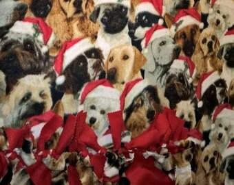 Santa Puppies Christmas No Sew Fleece Blanket