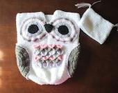 Owl Cocoon Set/Newborn Photo Prop