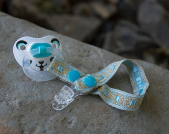 Gold & Teal, Princess Pacifier Clip, pacifier ring, pacifier holder, dummy clip, binky clip, baby gift, newborn gift, baby shower gift