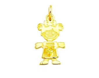 "SGirl-Nov1  - 14K Yellow Gold 1/2"" November Birthstone Girl Charm"