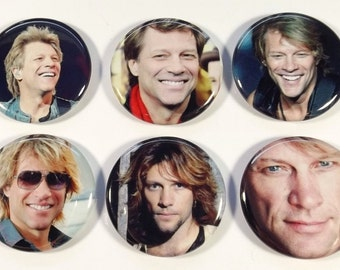 "Set of 6 Jon Bon Jovi 1.25"" Pinback Buttons, Flat Backs or Magnets"