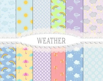Season Papers, Cloud papers, Sun Papers, Weather papers, Snow Papers, Scrapbook Paper, Digital Papers, Instant Download, Commercial Use