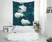 White Flowers Tapestry, Peonies Wall Art, Home Decoration, Floral Tapestry, Flower Decor, Nature Decor, Macrografiks