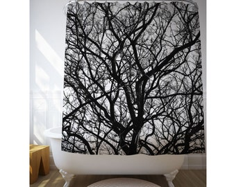 dried branches shower curtain nature decor bathroom art black and white tree