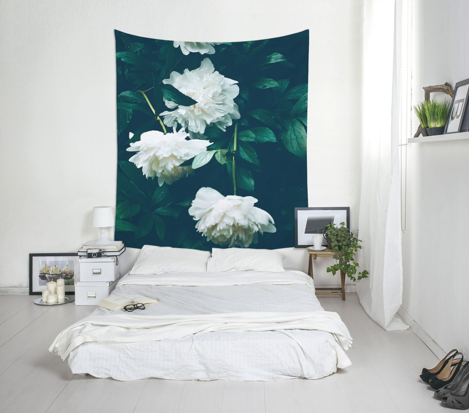 Wall Decor White Flowers : White flowers tapestry peonies wall art home decoration