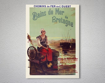 Bains de Mer, de Bretagne  Vintage Travel Poster, Poster, Sticker or Canvas Print / Gift Idea