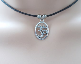 black cord choker necklace with silver charm, om choker for women, spiritual jewellery