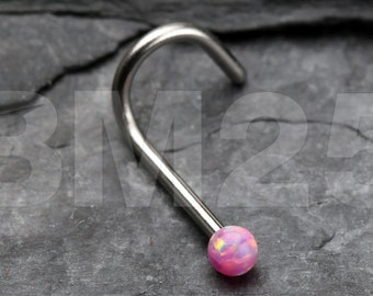 Pink Fire Opal Steel Nose Screw Ring