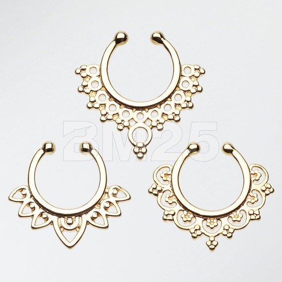 3 Pcs of Golden Filigree Fake Septum Pack