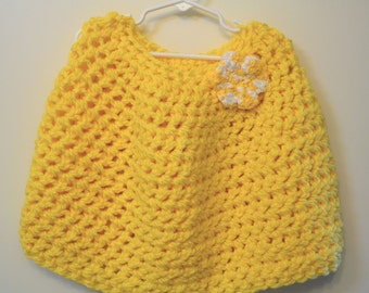 Crocheted Flowered Child's Poncho