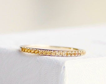 Citrine Half Eternity Band, 14k Yellow Gold, birthstone ring, wedding band, anniversary band - Ready to Ship
