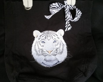 White Tiger Allie Tote with tassle