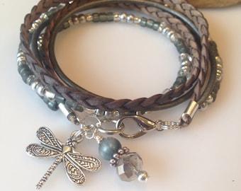 Mother's Day Gift, Boho Wrap, leather Beaded Boho wrap, Multi Wrap, Gypsy Wrap, Choose your Charm, Christian, Zen,Personalized, Grey, Silver