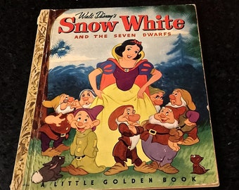 Vintage Snow White and the Seven Dwarfs, Little Golden Book. Walt Disney Illustrators, Simon and Schuster, Copyright 1948, C Edition