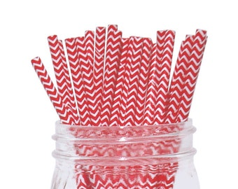 Red Chevron Striped Party Paper Straws 25pcs CSS250024 Just Artifacts Brand