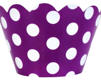 Cupcake Wrapper 20pcs Plum with White Polka Dots Just Artifacts Brand CCW200007