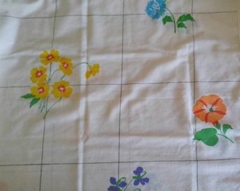 Vintage Pillowcase, Pink Flowers, Blue Flowers, Yellow Flowers, Orange Flowers, Floral Pillowcase, White Pillowcase Vintage Linens
