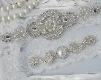 Wedding Garter, Wedding Garter Set,Bridal Garter Set, Crystal Rhinestone Pearl Keepsake  Toss Garters, Off White Stretch Lace Wedding Garter