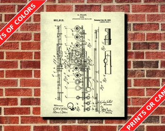 Flute Patent Print, Flute Blueprint Musician Gift Music Room Decor Musical Instruments Poster Orchestra Poster