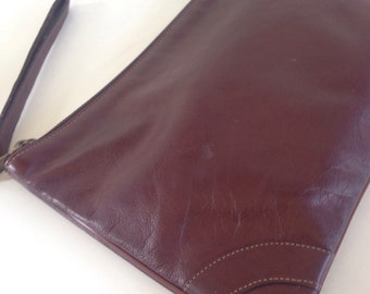 80's leather clutch- rich brown handbag