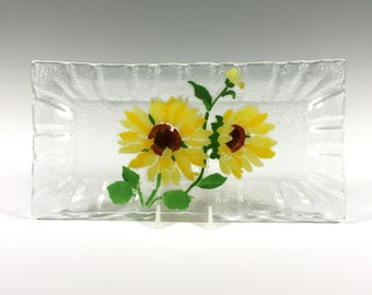 Fused Glass Sunflower Tray