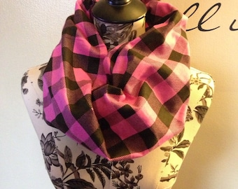 Pink and Black Plaid Infinity Scarf