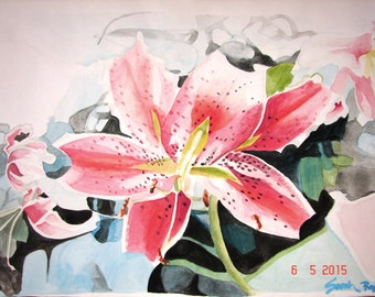 Watercolour Flower Painting, Red Lily, Original Watercolour Painting, lily floral art, shabby chic cottage, Asiatic lily, Australian