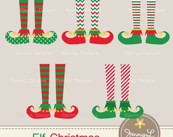 Elf Feet Christmas Clipart, Christmas Cliparts for Digital Scrapbooking, Invitations Commercial Use