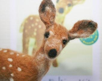 Deer Felting Kit - fawn felting kit - needle felting - felt animals - wool felting kit