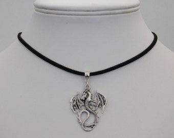 Silver Flying Dragon Pendant Necklace