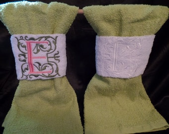 "Monogram hand towel wrap/Monogrammed towel/bathroom towels/towel wrap,, 4"" Gracie pattern"