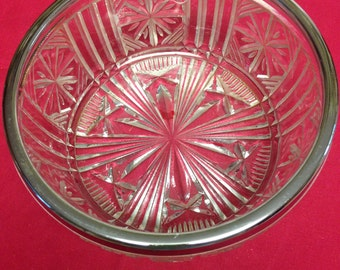 English Glass Trifle Bowl with Silver Trim