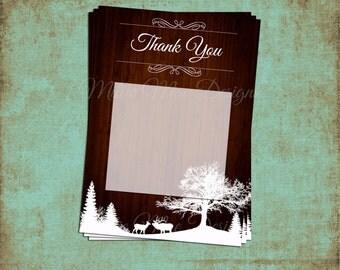 SALE 50% OFF Custom Rustic Winter Wonderland Wedding Thank You Cards