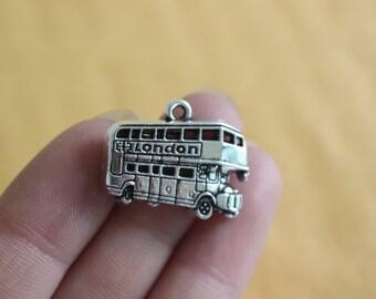 London Double Decker Bus Charms Antique Silver Tone 25*20mm