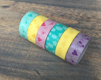 Set of 6 cute washi tapes (W04)