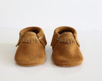 Cinnamon Suede Baby Moccasins