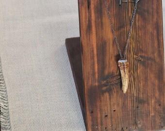 Antiqued Copper Deer Antler Tip Pendant Necklace