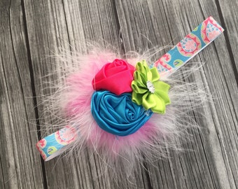 Paisley Feather Headband, Baby Headband, Infant Headband, Flower Headband