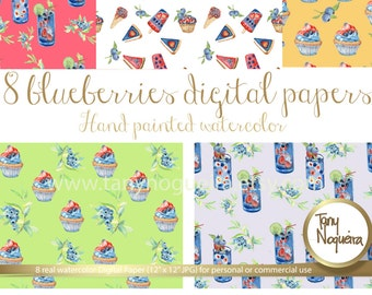 Blueberries Watercolor Digital Papers Ice Pop, Popsicle, Muffins, Organic, fruits, hand painted, Digital paper,  freeze pop, fresh